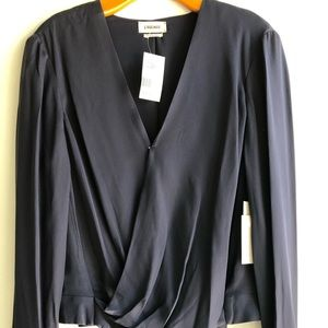 L'Agence midnight blue wrap blouse